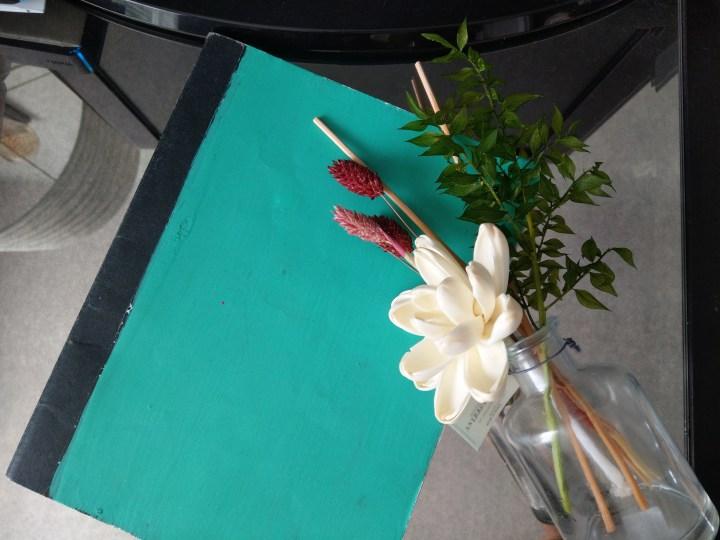 Journaling anthropologie diffuser, green journal and mirrored dresser