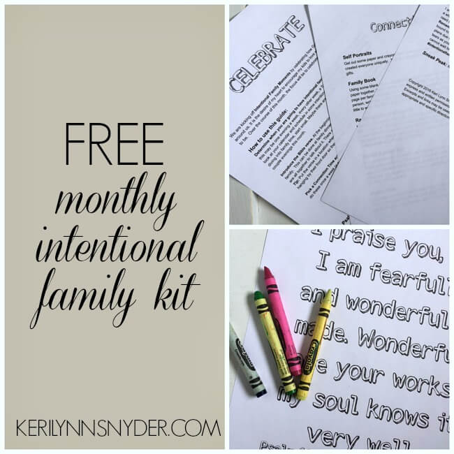 Create intentional moments as a family with this free monthly family guide