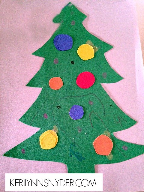 Easy Kids Christmas Crafts- Color Learning Tree
