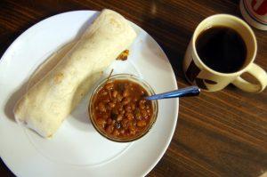 breakfast burrito and beans