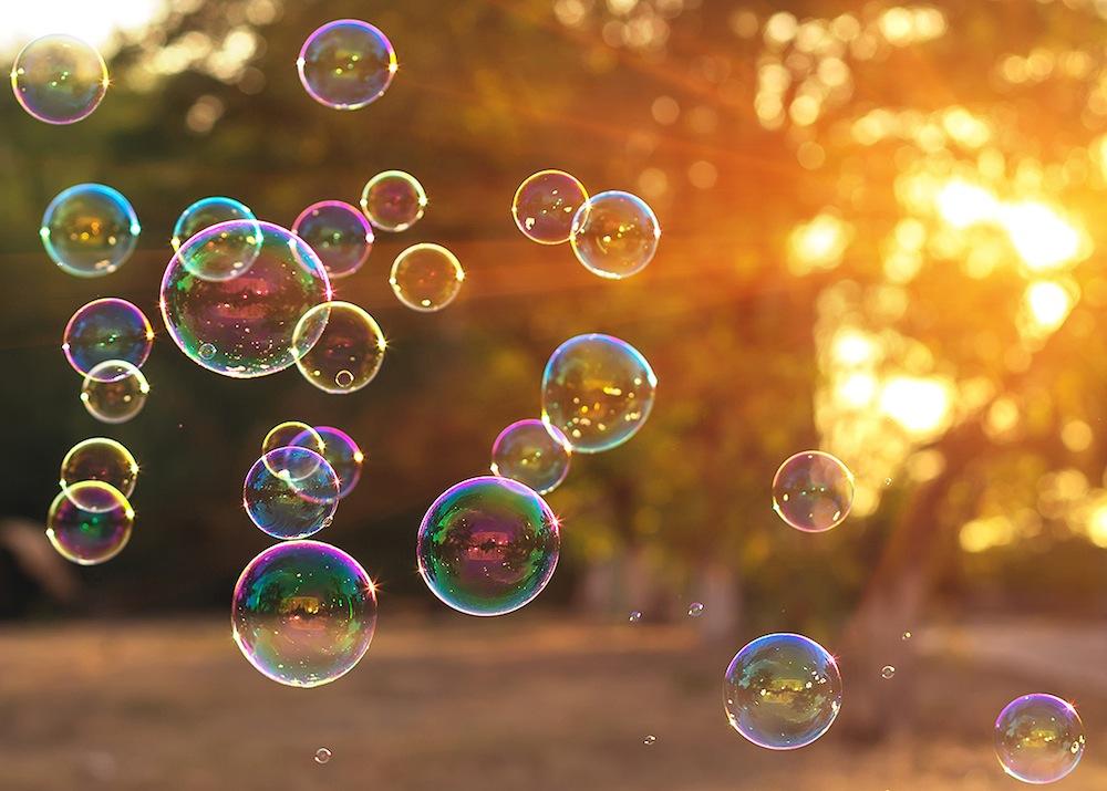 bubbles, magic, sunset