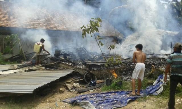 Rumah Warga Sungai Tanam Muara Sabak Ludes Terbakar