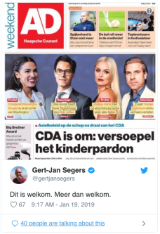 Kinderpardon Krant AD CDA is om! Tweet Gert-Jan Segers Christenunie