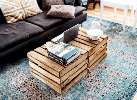 reclaimed wood table recycled modern sofa