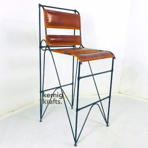 BCHM22754 Classic Leather Upholestry Metal Bar Chair