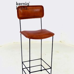 BCHM70596 Classic Leather Upholestry Metal Bar Chair