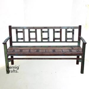 BENC01567 Classic Reclaimed Solid Wood Bench with Arm Rest
