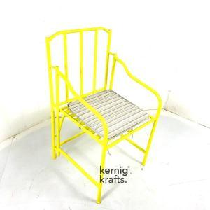 CHAM33568 Industrial Iron Steel Cushion Seat Bistro Chair