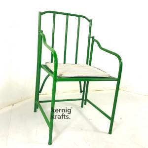 CHAM38063 Industrial Iron Steel Cushion Seat Bistro Chair
