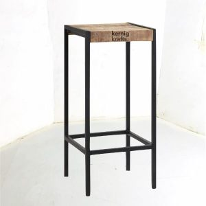 ENDT09728 Metal with Mango Wood Top Industrial End Table