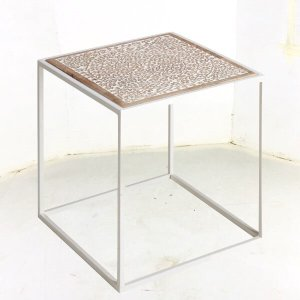 ENDT37291 Metal with Hand Carved Wood Top Industrial End Table