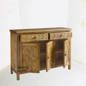 SDBA18501 Hand Carved Wood Storage Sideboard Service Station