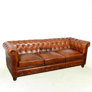 SOFA52939 Three Seater Leather Vintage Finish Chesterfield Sofa