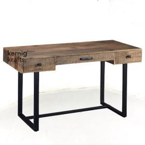 STTB20718 Aara Finish Mango Wood Rustic Industrial Study Table