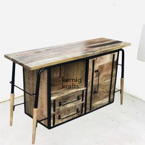BART21692 Bar Table Counter With Bar Storage Unit in Mango Wood And Iron