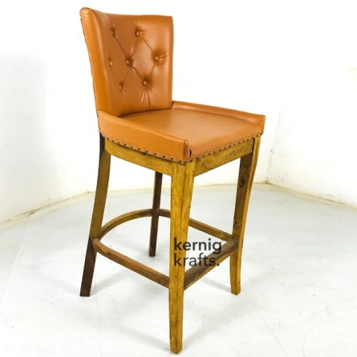 BCHM87998 Classic Wooden Bar Chair in Upholestry Button Tufted