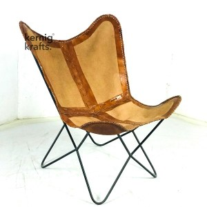 CHAM46963 Butterfly Chair With Canvas and Leather on Metal Base