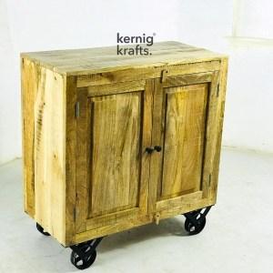 SDBA37196 Mango Wood Sideboard With Cast Iron Wheels