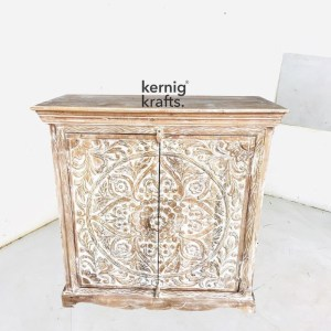 SDBA56719 White Wash Mango Wood Sideboard With Hand Carving