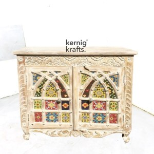 SDBA58985 White Wash Mango Wood Sideboard With Hand Carving and Tile Work