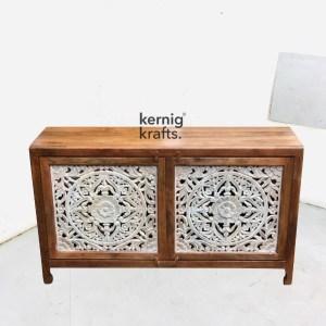 SDBA78028 Mango Wood Sideboard With Hand Carving