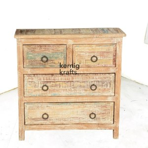 SDBA84724 Lime Wash Chest Of Drawer Reclaimed Wood Sideboard With 4 Drawer