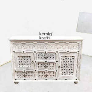 SDBA86027 White Wash Mango Wood Sideboard With Hand Carving