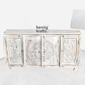 SDBA92923 White Wash Mango Wood Sideboard With Hand Carving