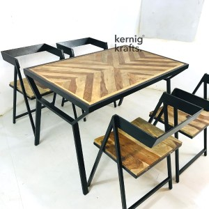 SETD74248 Mosaic Table Top Industrial Chair Dining Set for Bar