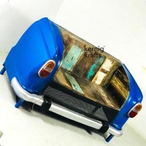 SOFA16016 Indian Ambassador Car Repurposed as Sofa Seating With Reclaimed Wood Seat