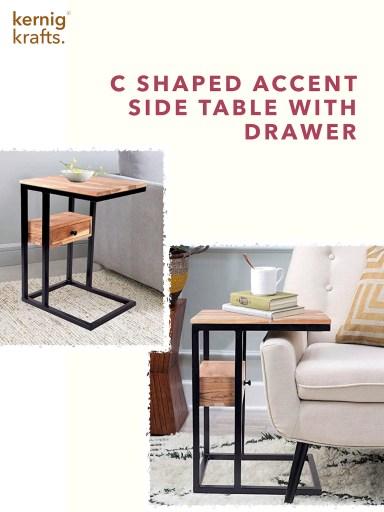 Accent side table end c shaped multipurpose furniture kernig krafts