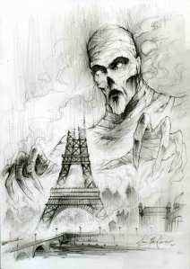Crayonné de la couverture de La 25e Heure par Élian Black'Mor