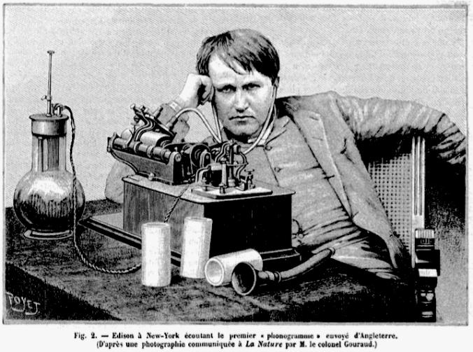 Thomas Edison (source : n°830 de La Nature, avril 1889, p370 (c)CNAM)
