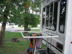 Drying rack on rear of RV