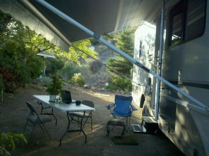 My outdoor office at the RV park where I'm camped.