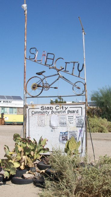 Slab City, California, sign, just a hint of the folk art you'll find.