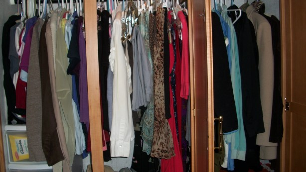 A closet full of clothes and skeletons.
