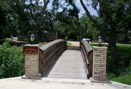 The bridge to Zedler Mill Park in Luling, Texas.
