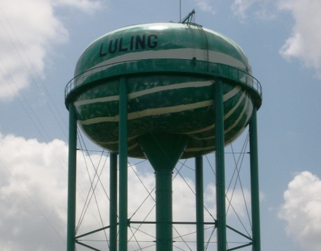 The Watermelon Water Tower in Luling, Texas.