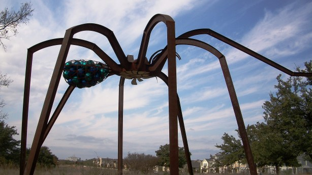 Huge spider sculpture by D. Friend Gay in Austin, Texas.