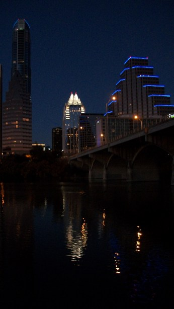 Beautiful downtown Austin after sunset.