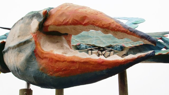 Recreated to match the original, the crab sits on Seabreeze Drive at the entrance to Rockport Beach Park.