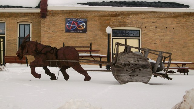 Horse cart sculpture.