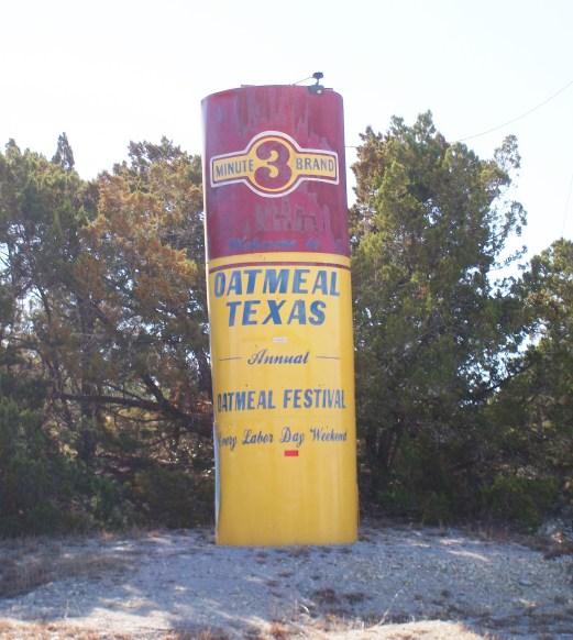 A giant box of oatmeal in Oatmeal, Texas.