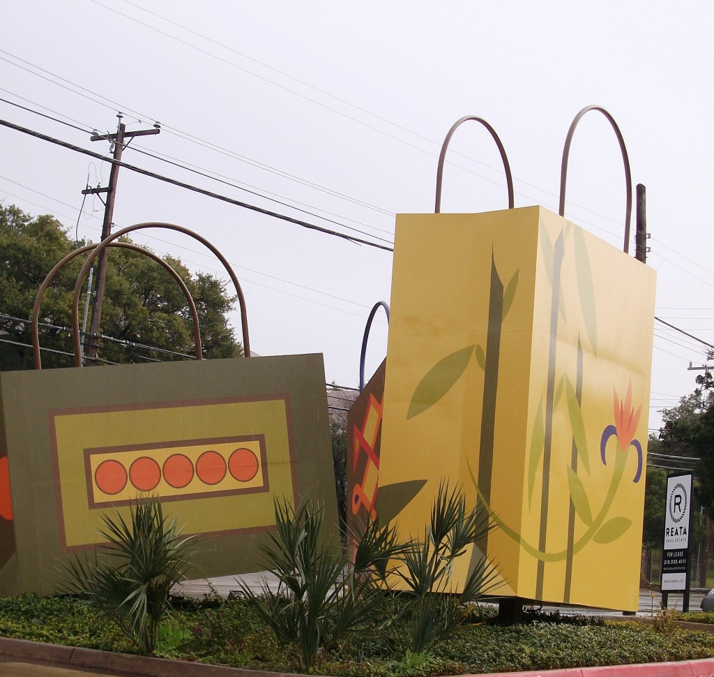 Giant Gift Bags roadside attraction - because there is always room for more stuff.