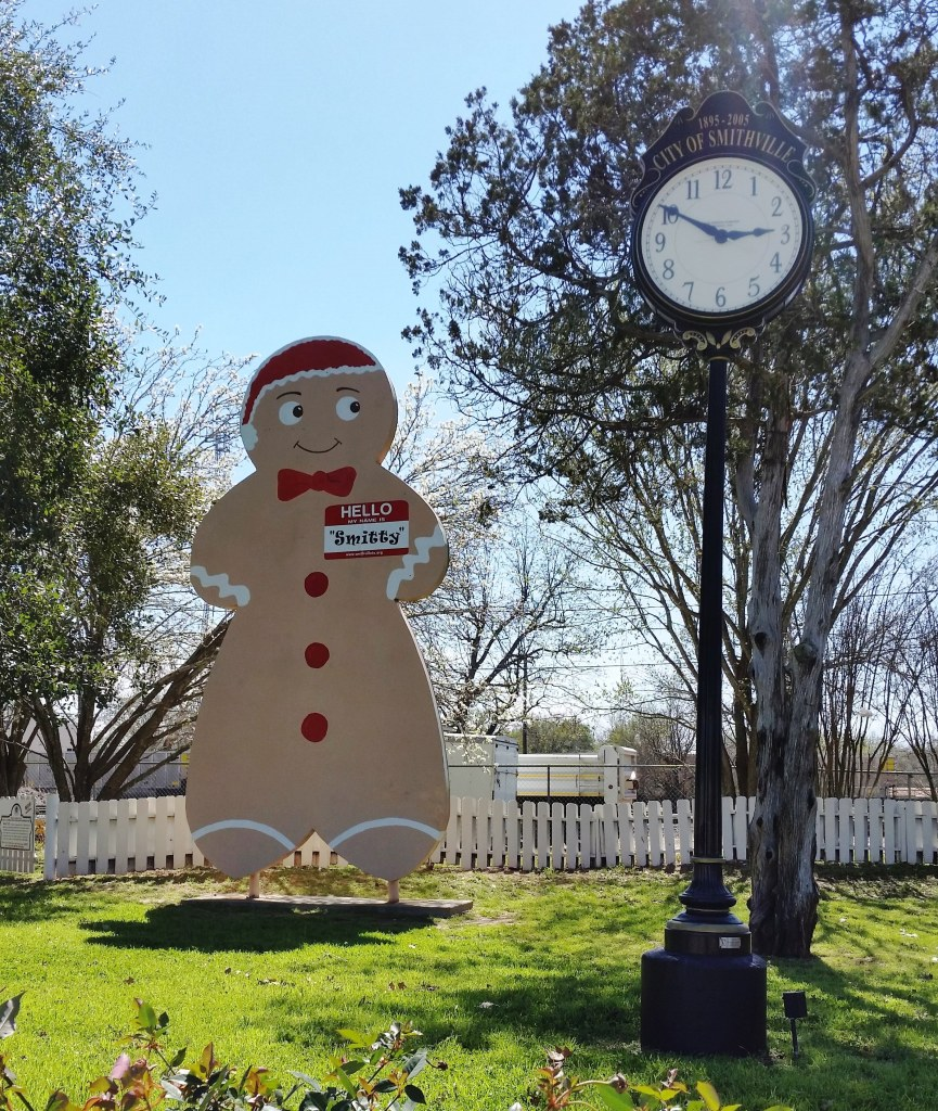 Cartman, watching the clock in downtown Smithville, Texas.
