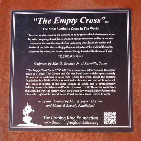 The Empty Cross plaque.