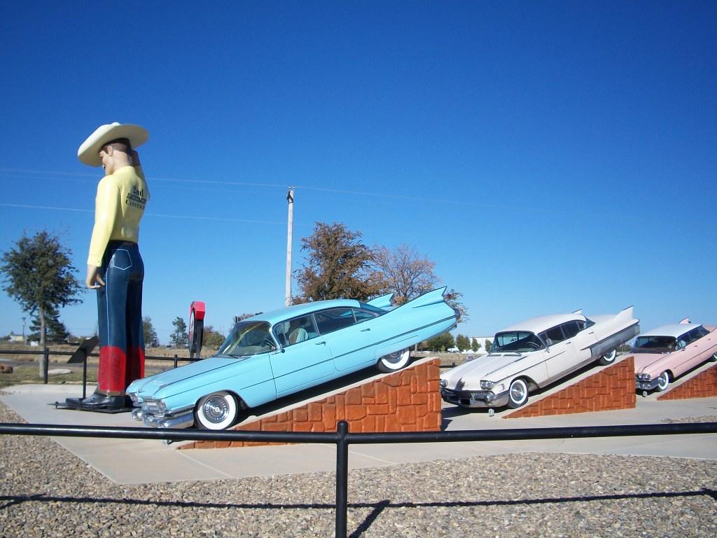Original Cadillacs at a nearby shop.