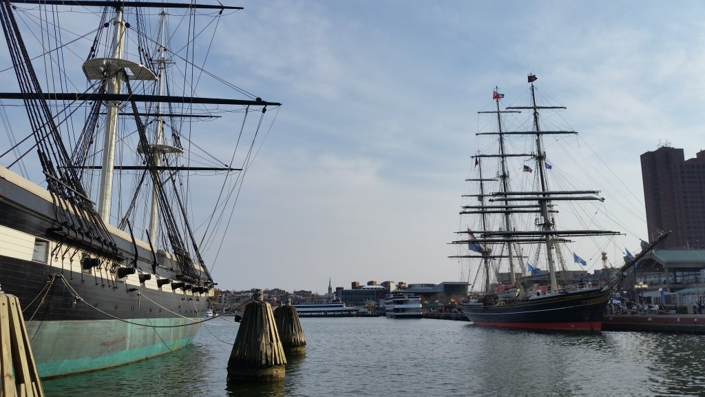 USS Constellation on the left, Stad Amsterdam on the right.
