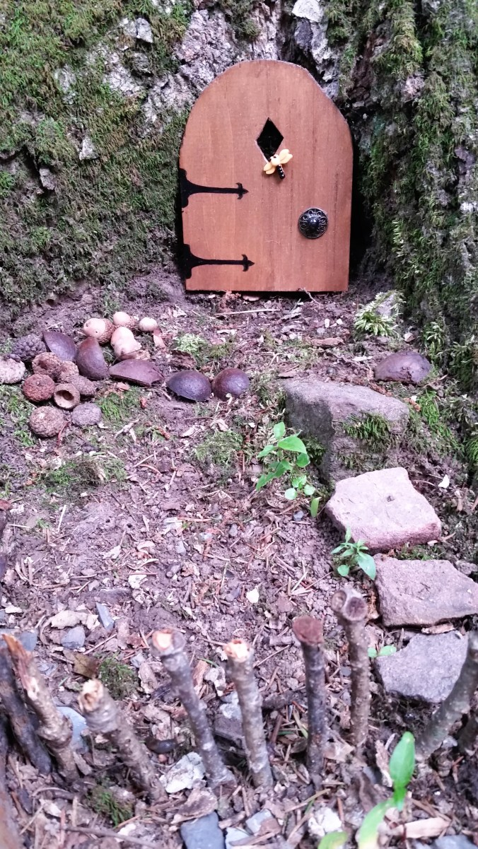 Gnome door with yard.
